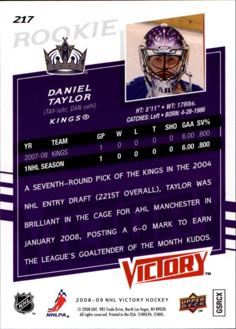 2008-09 Upper Deck Victory #217 Danny Taylor RC back image
