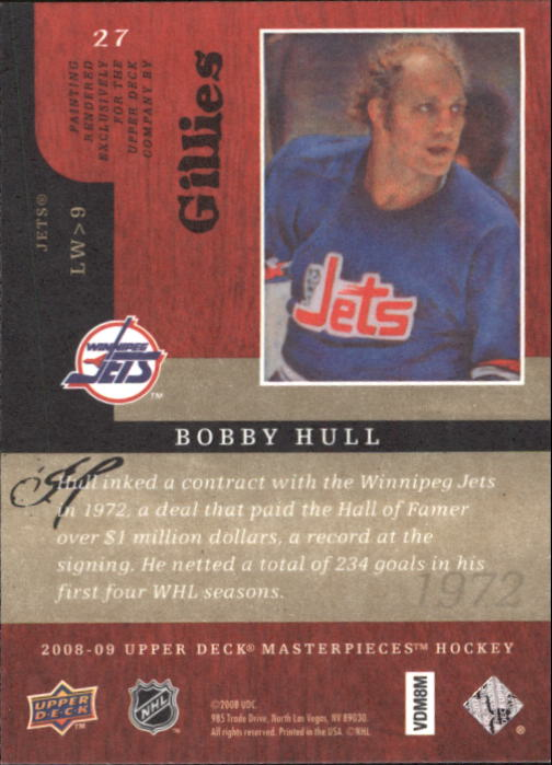 2008-09 UD Masterpieces #27 Bobby Hull back image