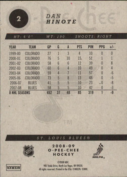 2008-09 O-Pee-Chee #2 Dan Hinote back image