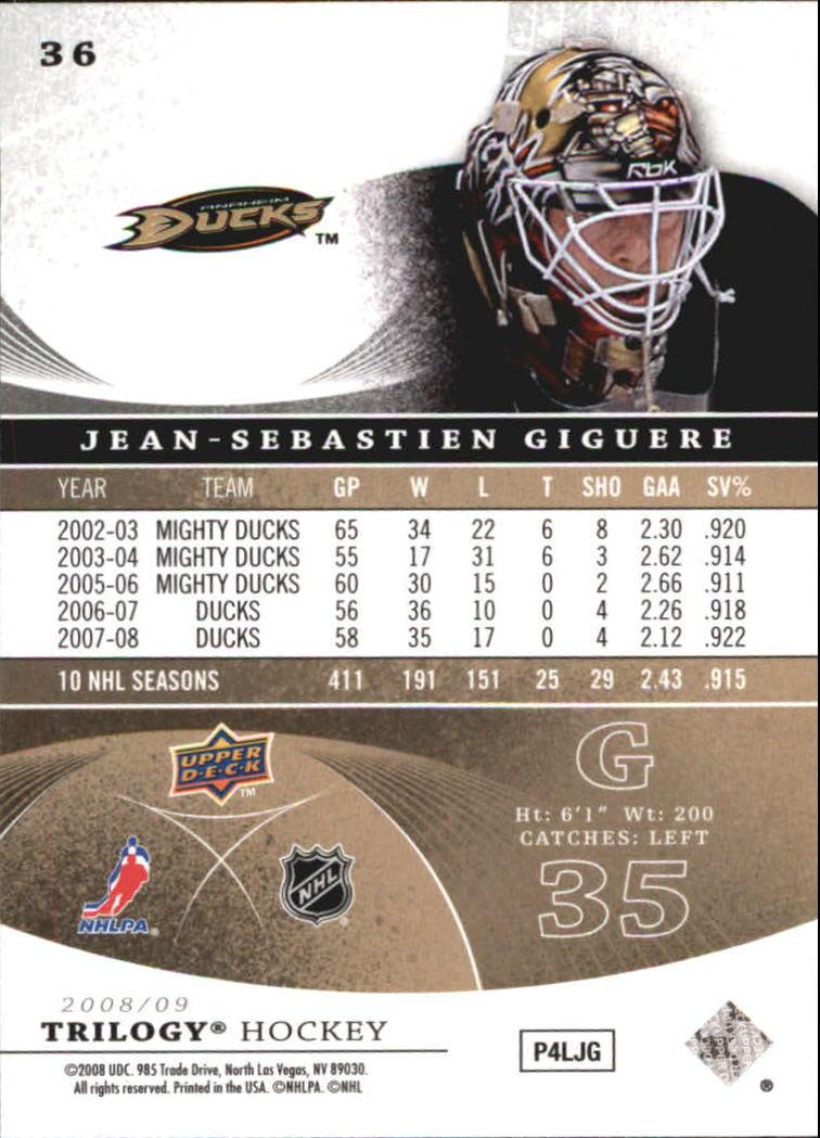 2008-09 Upper Deck Trilogy #36 Jean-Sebastien Giguere back image