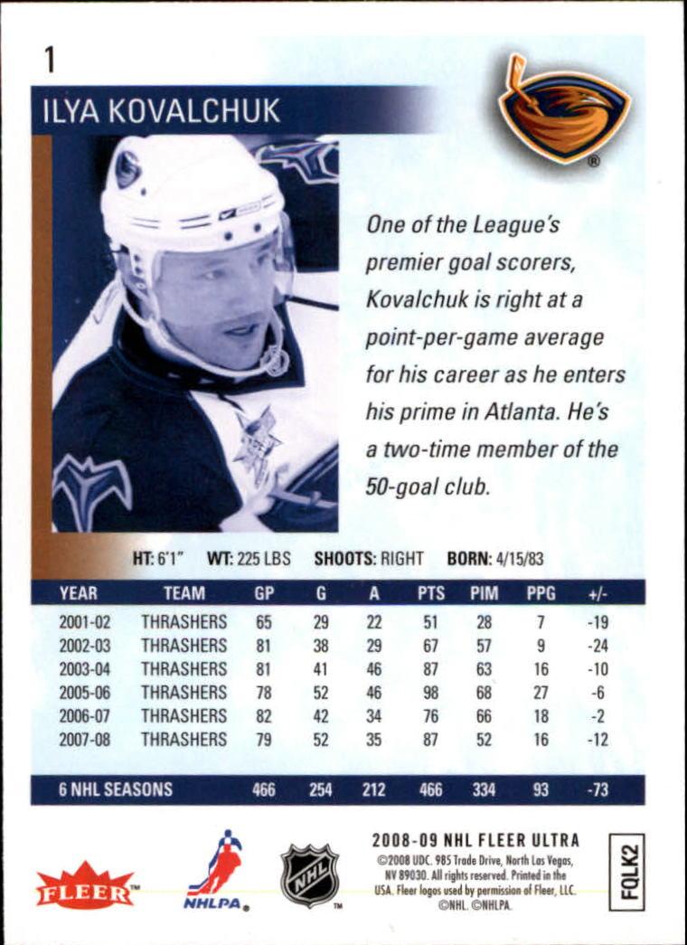 2008-09 Ultra #1 Ilya Kovalchuk back image