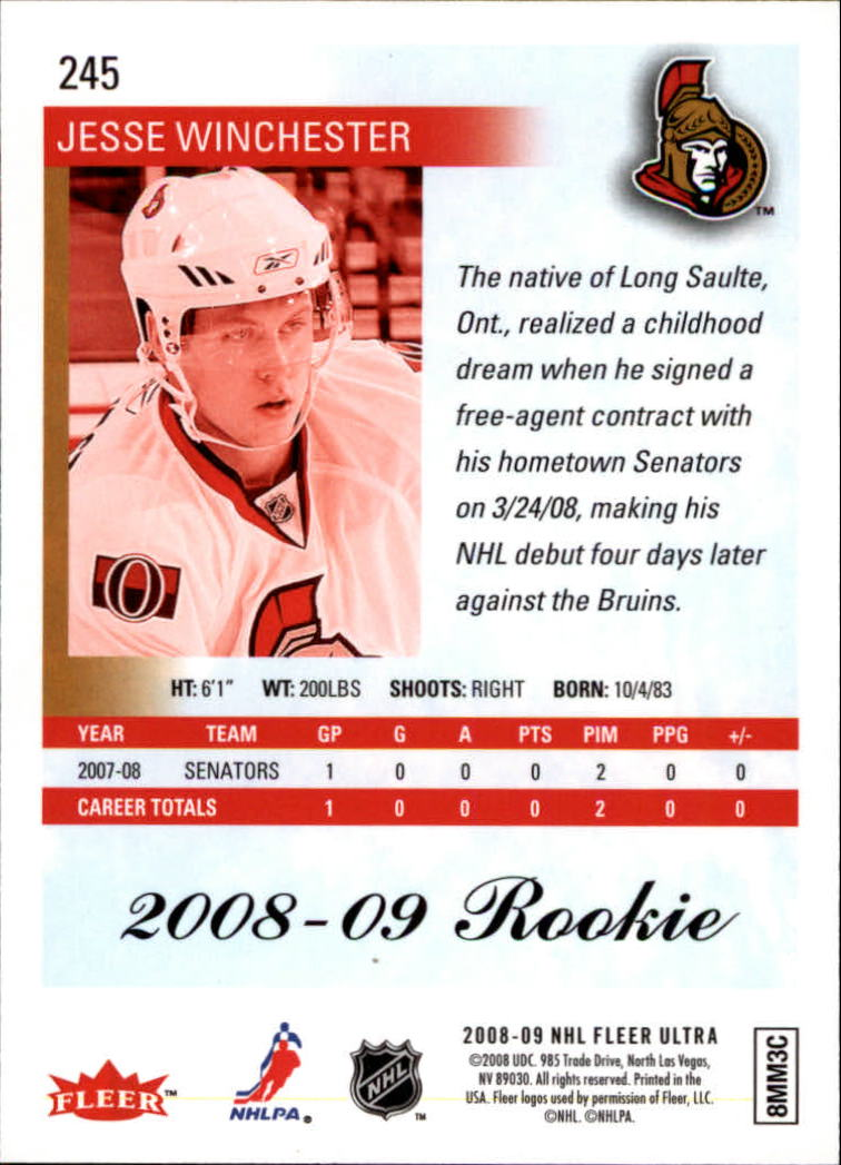 2008-09 Ultra #245 Jesse Winchester RC back image