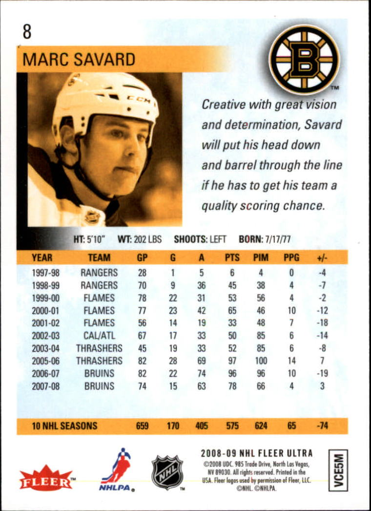 2008-09 Ultra Gold Medallion #8 Marc Savard back image
