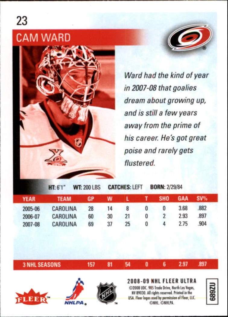 2008-09 Ultra Gold Medallion #23 Cam Ward back image