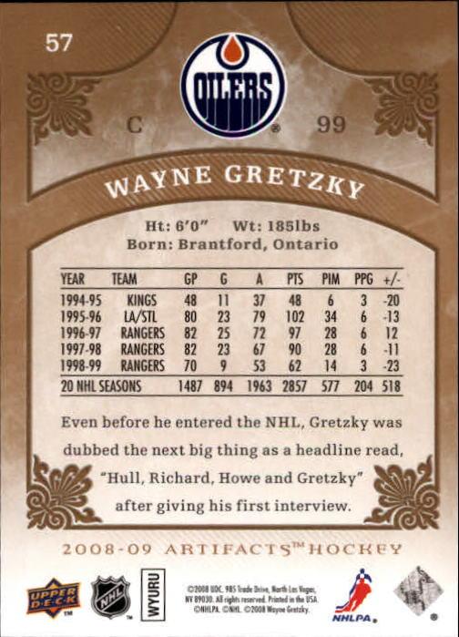 2008-09 Artifacts #57 Wayne Gretzky back image