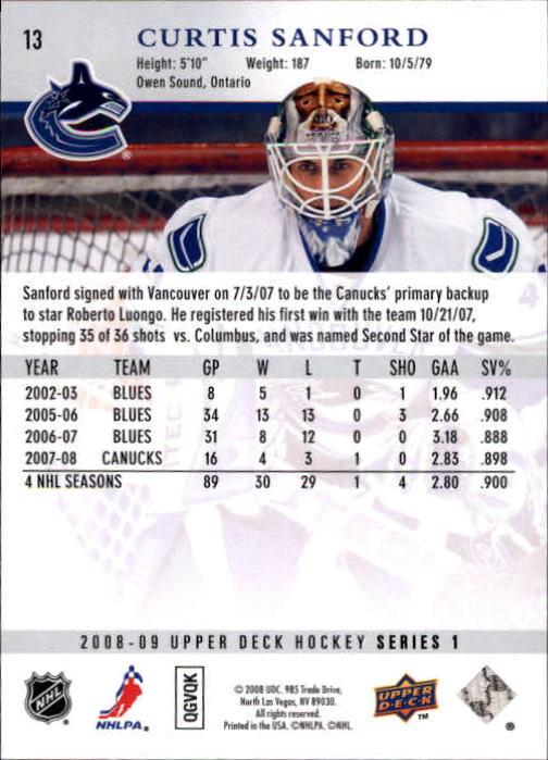 2008-09 Upper Deck #13 Curtis Sanford back image