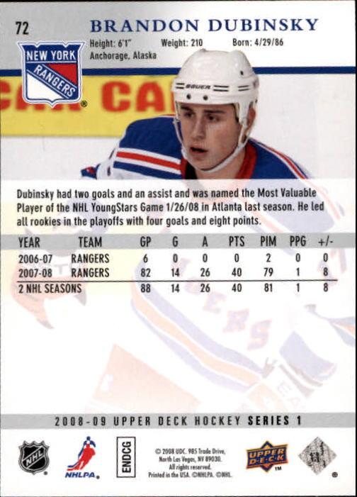 2008-09 Upper Deck #72 Brandon Dubinsky back image