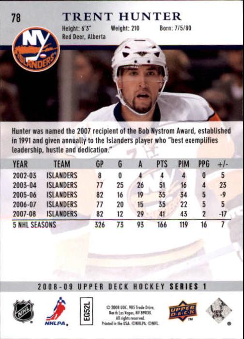 2008-09 Upper Deck #78 Trent Hunter back image