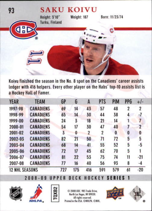 2008-09 Upper Deck #93 Saku Koivu back image