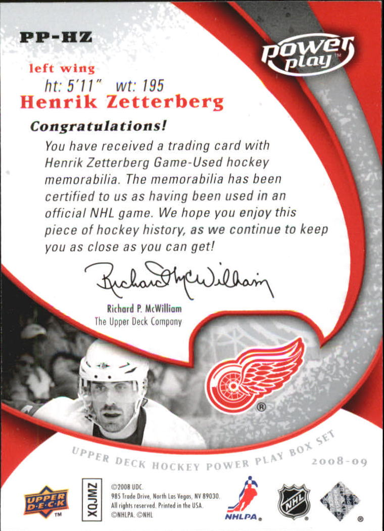 2008-09 Upper Deck Power Play Jerseys #PPHZ Henrik Zetterberg back image