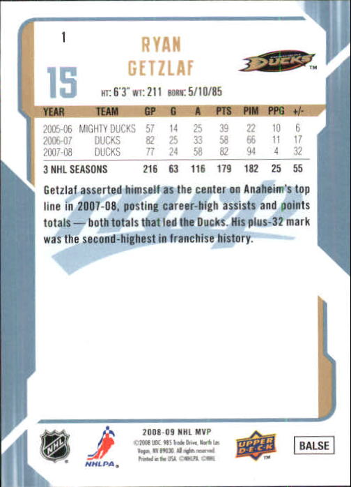 2008-09 Upper Deck MVP #1 Ryan Getzlaf back image