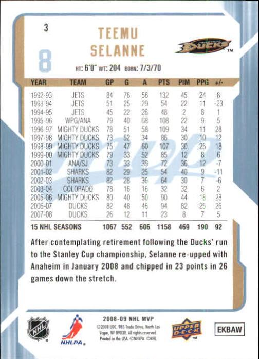2008-09 Upper Deck MVP #3 Teemu Selanne back image