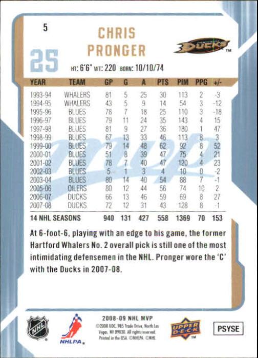 2008-09 Upper Deck MVP #5 Chris Pronger back image