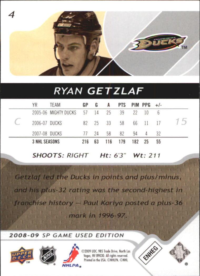 2008-09 SP Game Used #4 Ryan Getzlaf back image