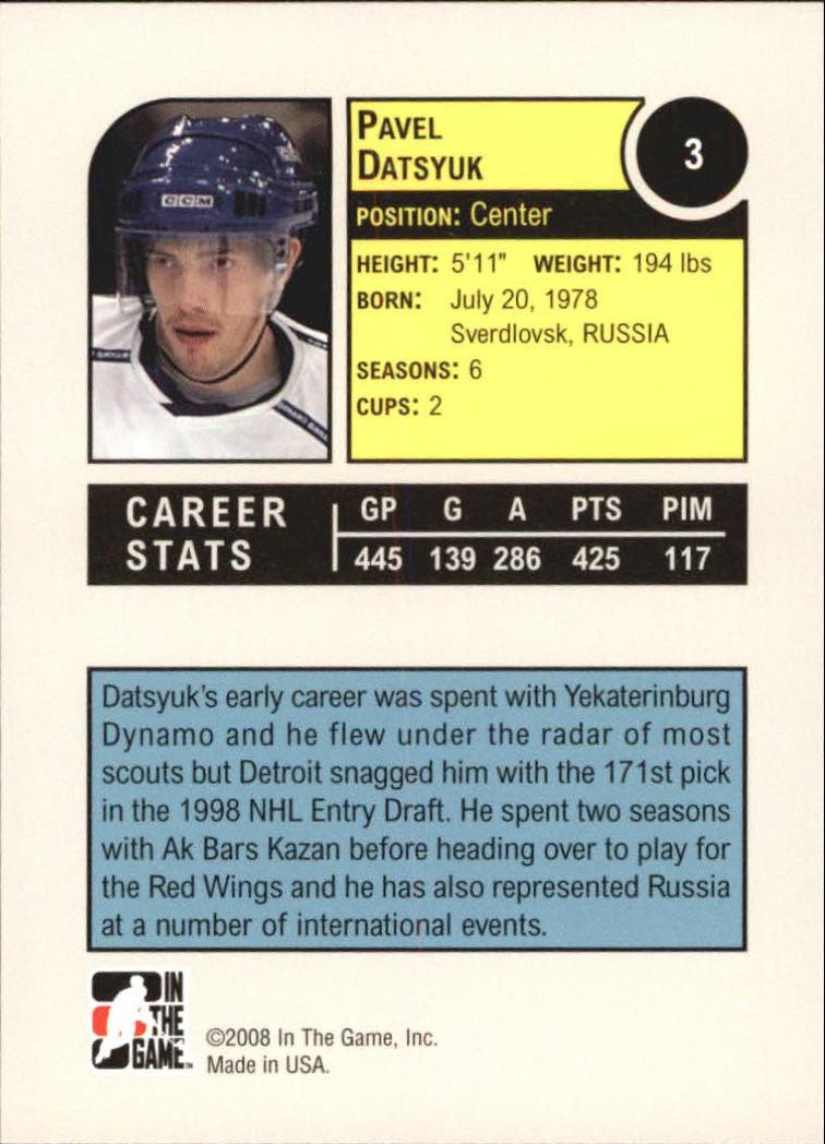 2008-09 ITG Heroes and Prospects #3 Pavel Datsyuk back image