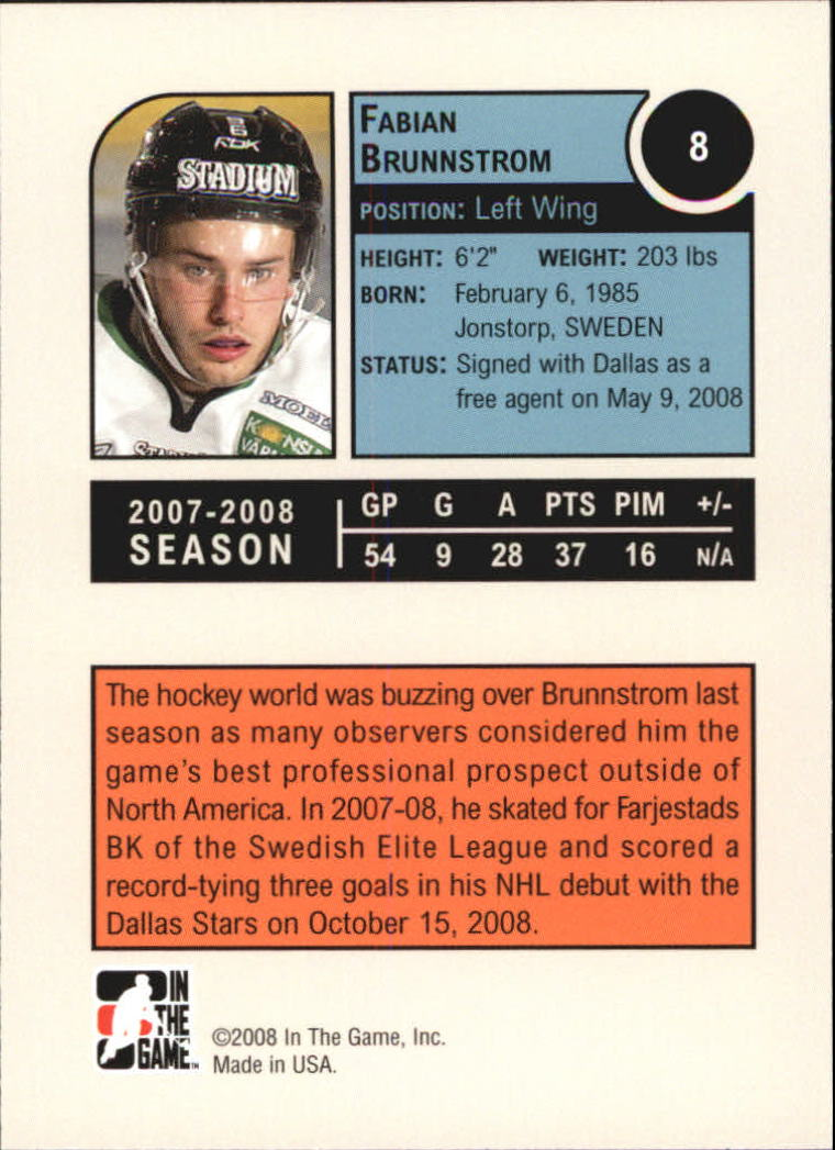 2008-09 ITG Heroes and Prospects #8 Fabian Brunnstrom back image