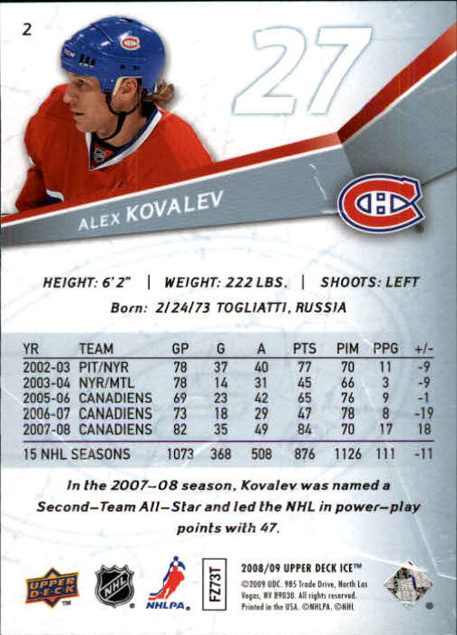 2008-09 Upper Deck Ice #2 Alex Kovalev back image