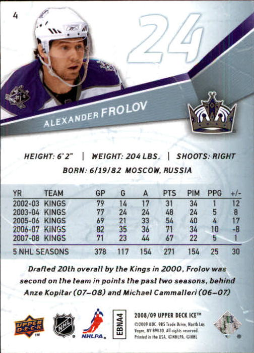 2008-09 Upper Deck Ice #4 Alexander Frolov back image