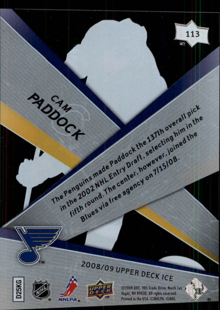 2008-09 Upper Deck Ice #113 Cam Paddock RC back image