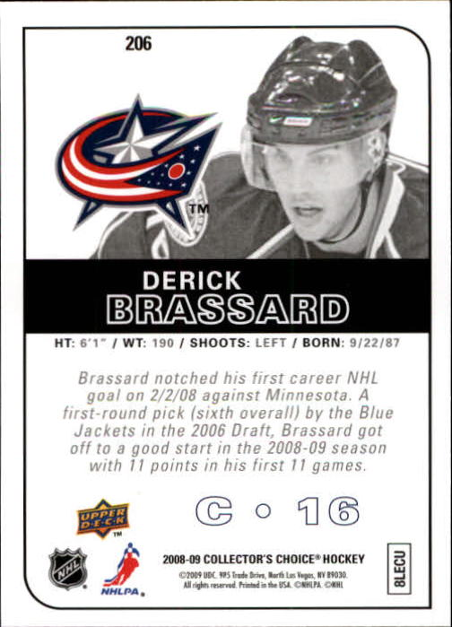 2008-09 Collector's Choice #206 Derick Brassard RC back image
