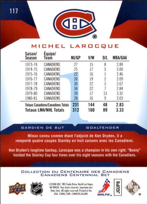 2008-09 Upper Deck Montreal Canadiens Centennial #117 Michel Larocque back image