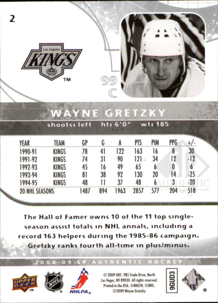 2008-09 SP Authentic #2 Wayne Gretzky back image