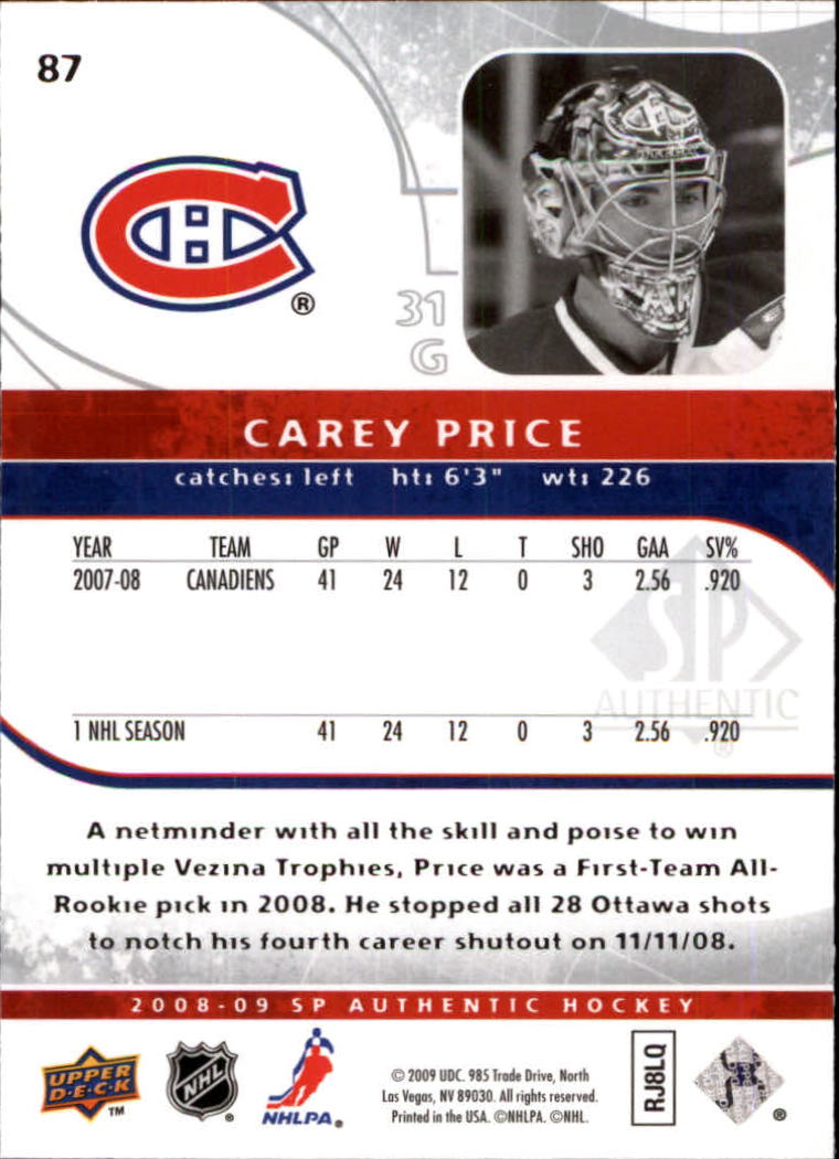 2008-09 SP Authentic #87 Carey Price back image
