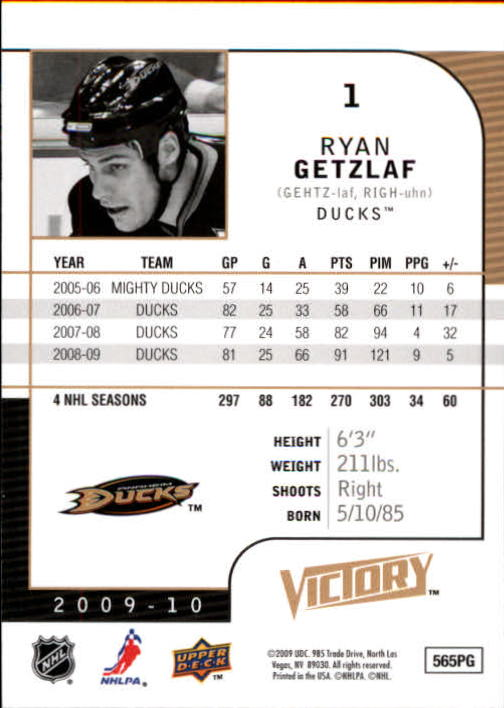 2009-10 Upper Deck Victory #1 Ryan Getzlaf back image