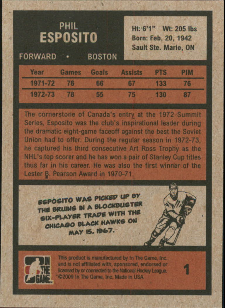 2009-10 ITG 1972 The Year In Hockey #1 Phil Esposito back image