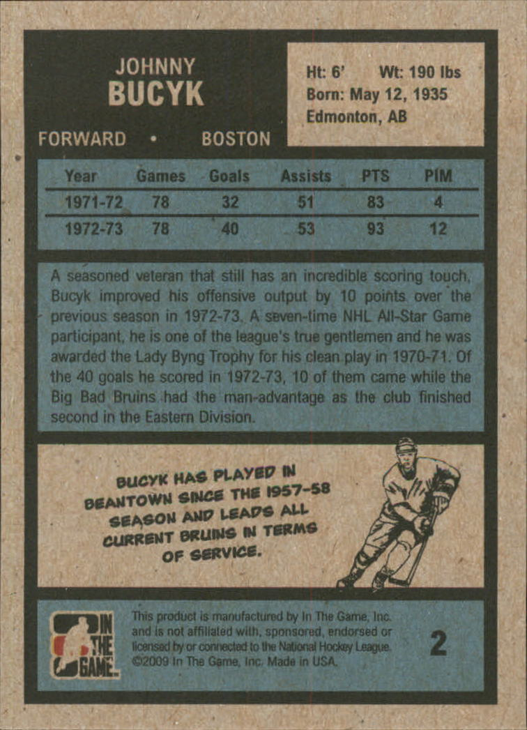 2009-10 ITG 1972 The Year In Hockey #2 Johnny Bucyk back image