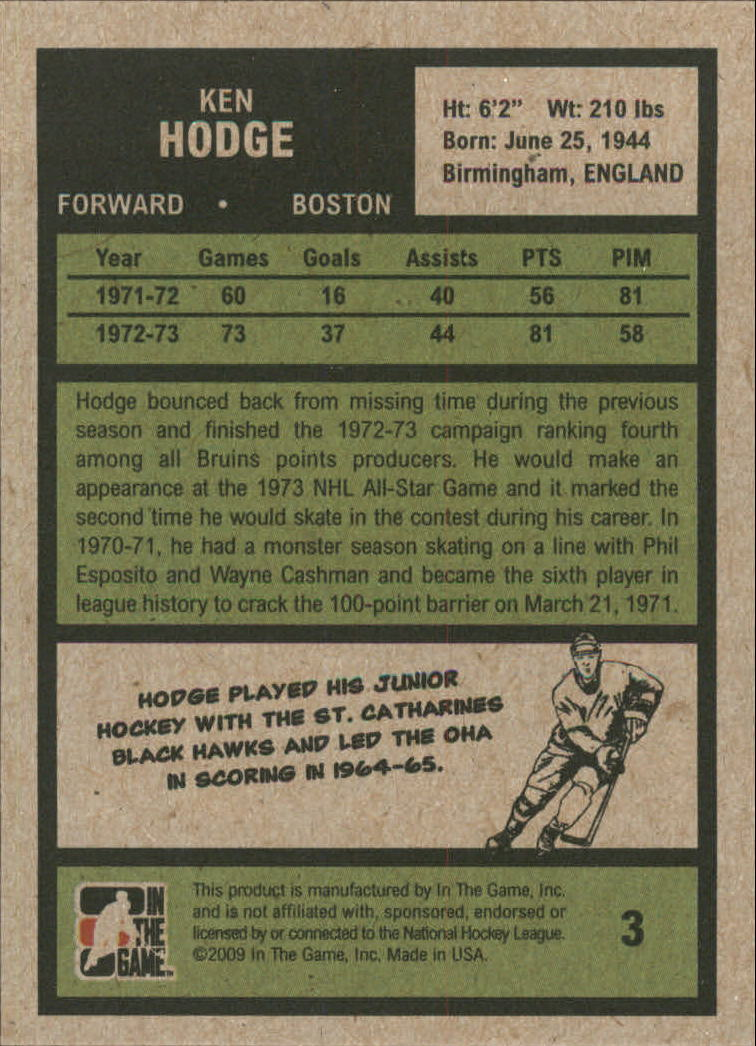2009-10 ITG 1972 The Year In Hockey #3 Ken Hodge back image