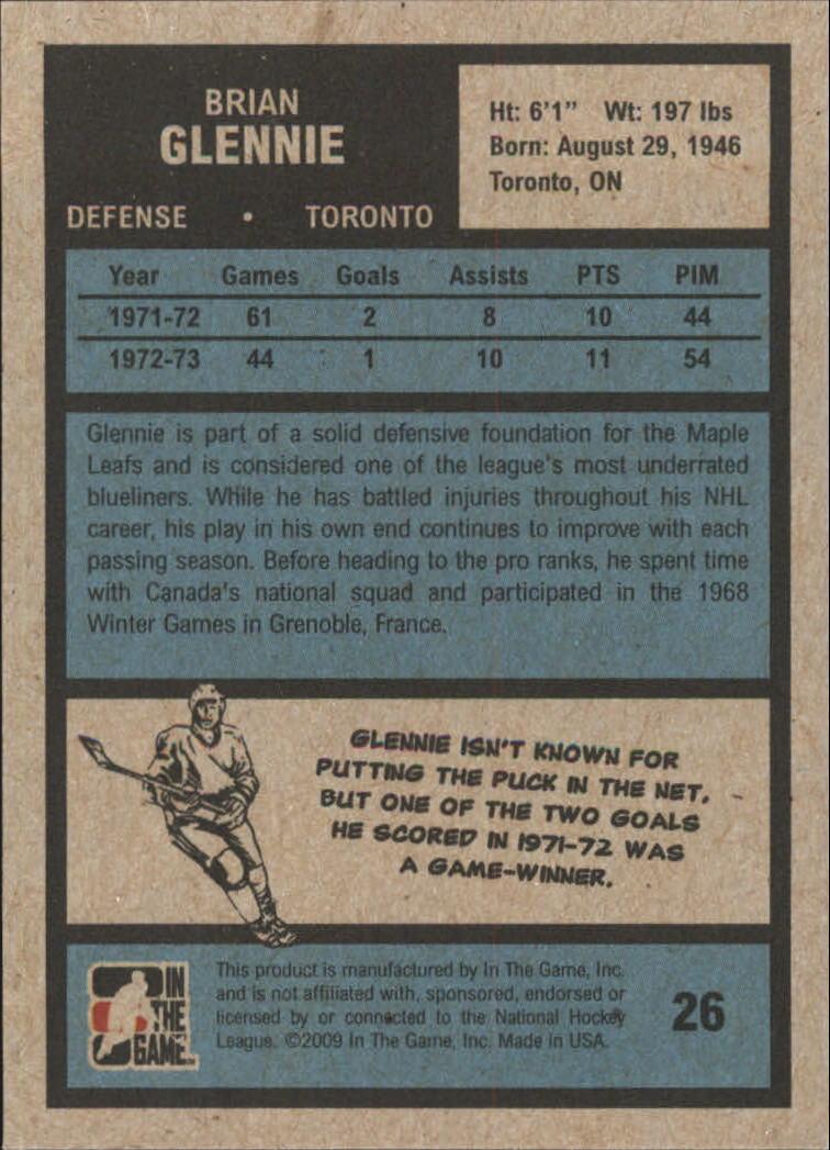 2009-10 ITG 1972 The Year In Hockey #26 Brian Glennie back image