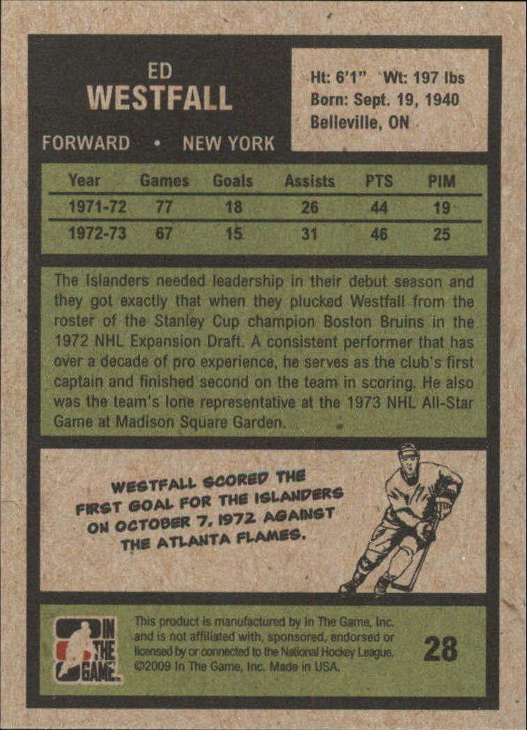 2009-10 ITG 1972 The Year In Hockey #28 Ed Westfall back image