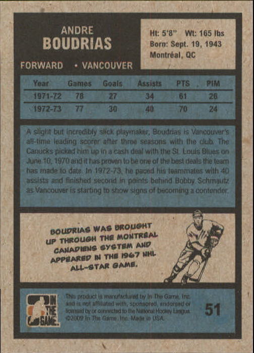 2009-10 ITG 1972 The Year In Hockey #51 Andre Boudrias back image