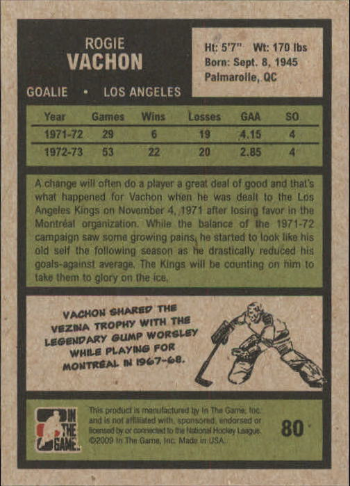 2009-10 ITG 1972 The Year In Hockey #80 Rogie Vachon back image