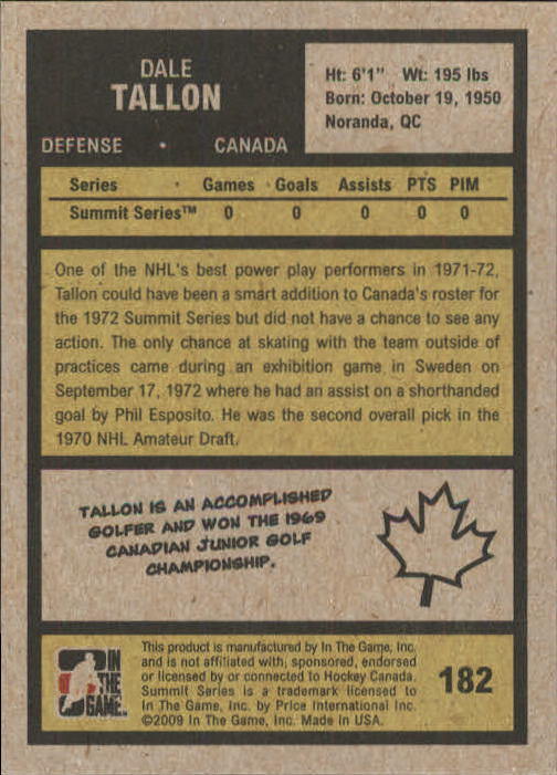2009-10 ITG 1972 The Year In Hockey #182 Dale Tallon back image