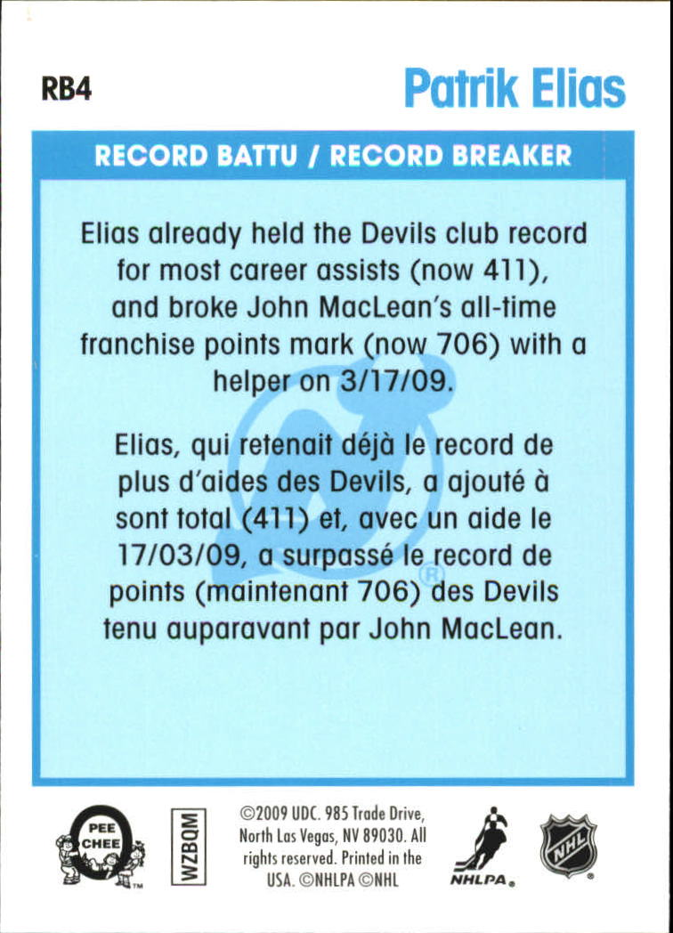 2009-10 O-Pee-Chee Record Breakers #RB4 Patrik Elias back image
