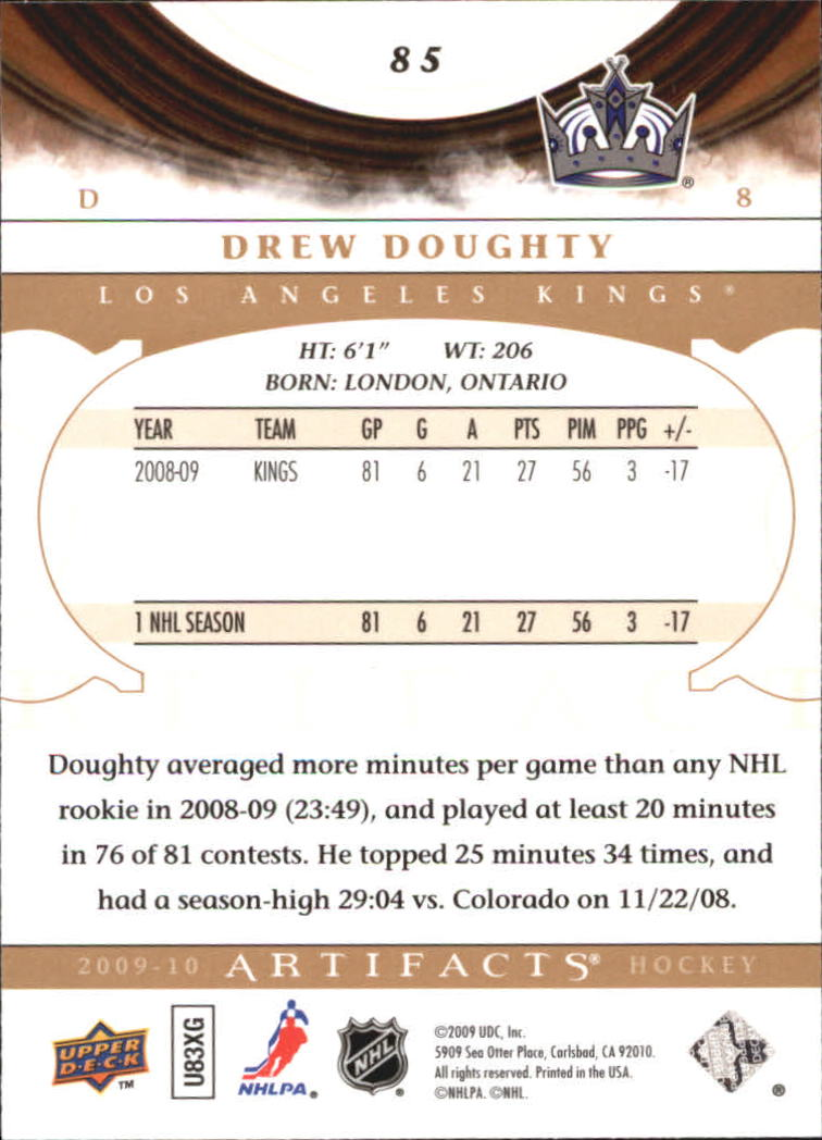 2009-10 Artifacts #85 Drew Doughty back image