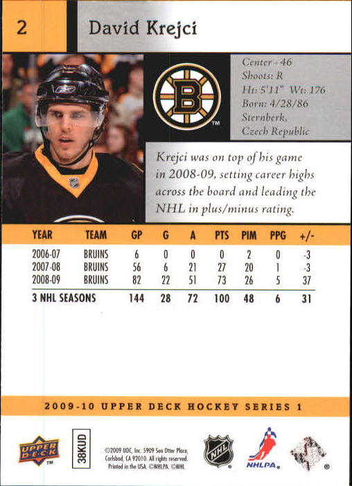 2009-10 Upper Deck #2 David Krejci back image