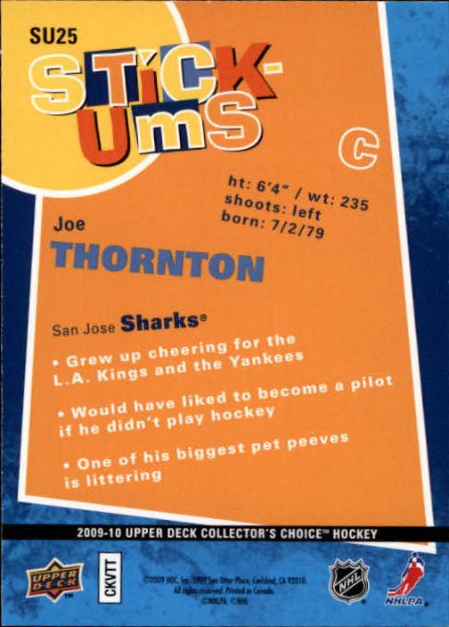 2009-10 Collector's Choice Stick-Ums #SU25 Joe Thornton back image