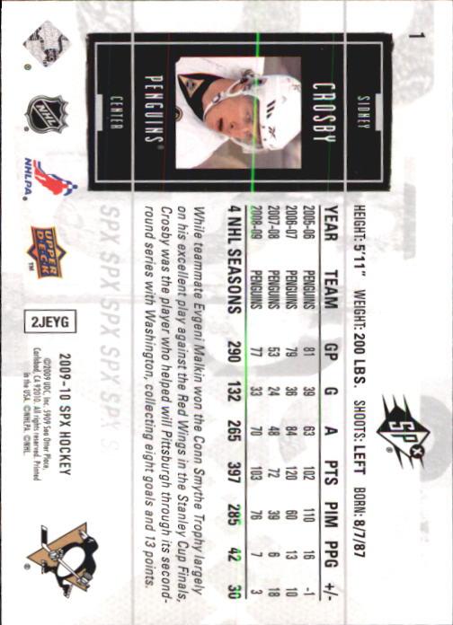 2009-10 SPx #1 Sidney Crosby back image