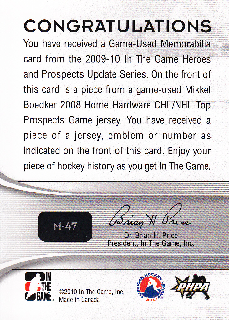 2009-10 ITG Heroes and Prospects Game Used Numbers Silver #M47 Mikkel Boedker back image