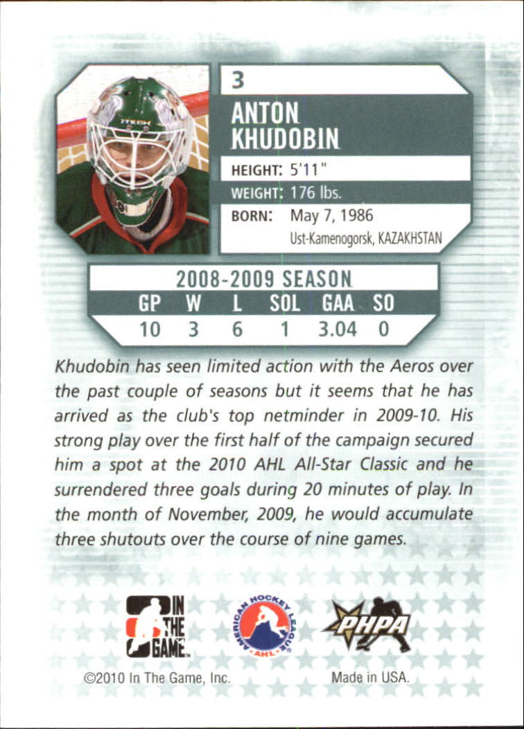 2009-10 Between The Pipes #3 Anton Khudobin back image