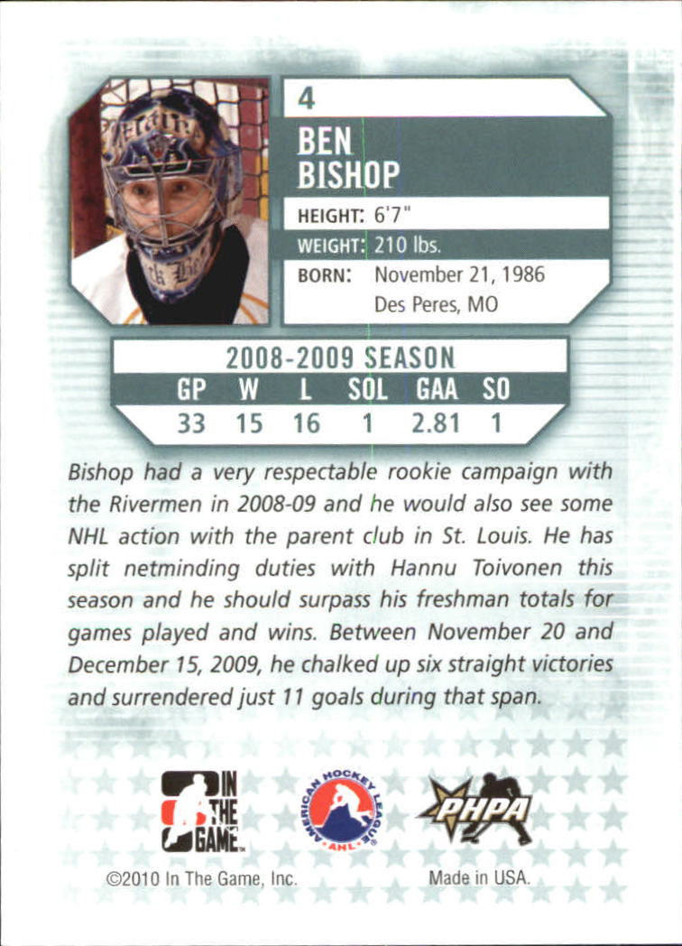 2009-10 Between The Pipes #4 Ben Bishop back image