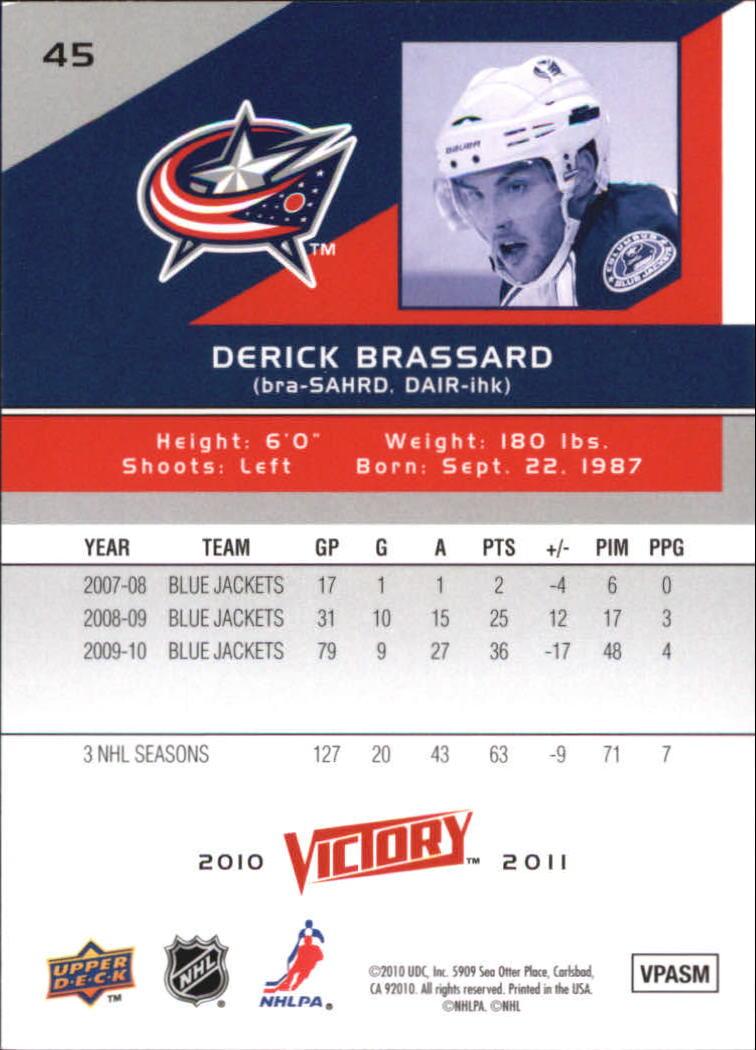2010-11 Upper Deck Victory #45 Derick Brassard back image