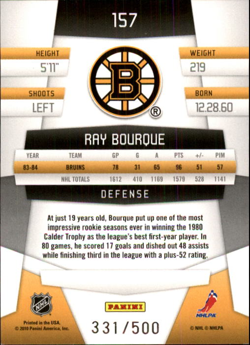 2010-11 Certified #157 Ray Bourque back image