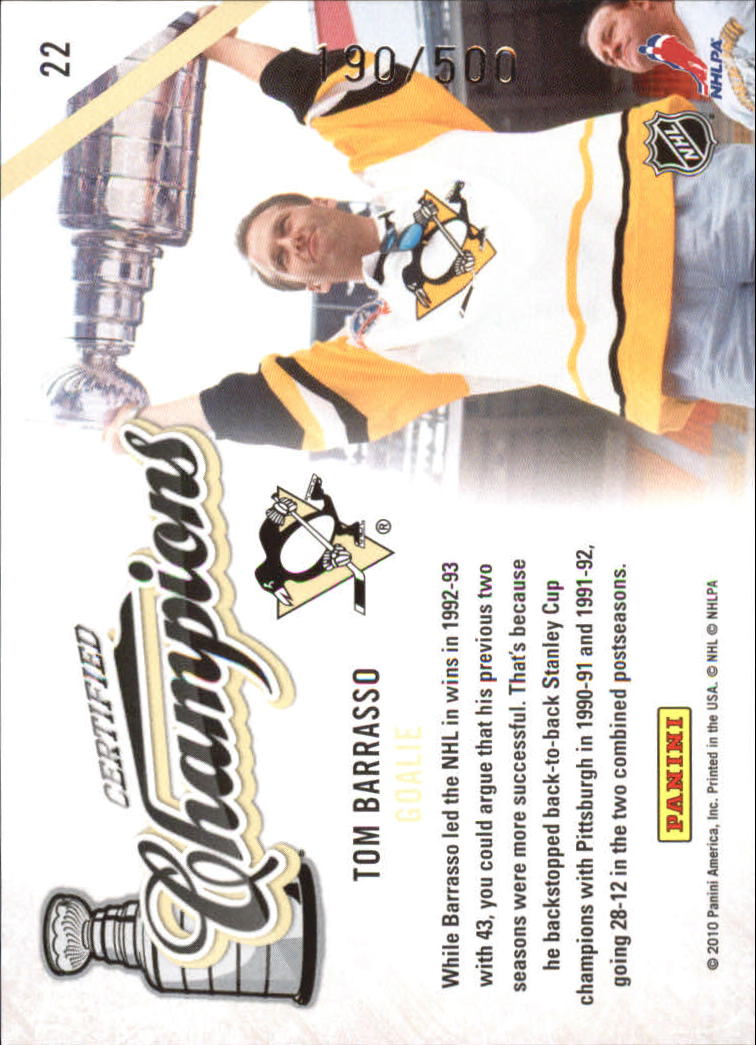 2010-11 Certified Champions #22 Tom Barrasso back image