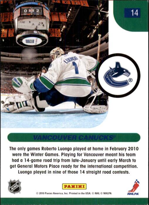 2010-11 Score #14 Roberto Luongo HL back image