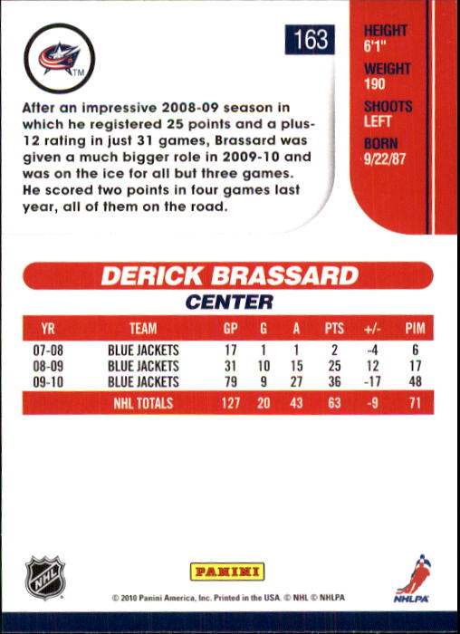 2010-11 Score #163 Derick Brassard back image