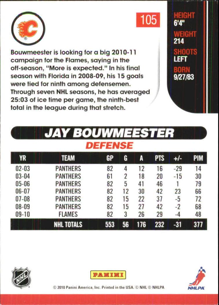 2010-11 Score Glossy #105 Jay Bouwmeester back image